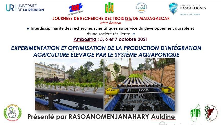 Aquaponie By Jeunes Chercheurs de la FOFIFA : Expérimentation et optimisation de la production d'intégration agriculture élevage par le système aquaponique