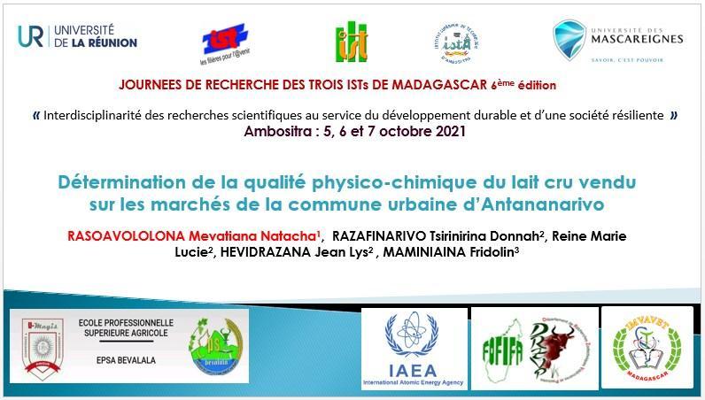 De la qualité physico-chimique du lait cru sur les marchés à Antananarivo